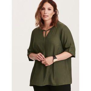 Torrid Grommet Tie Front Blouse in Olive Green 2X